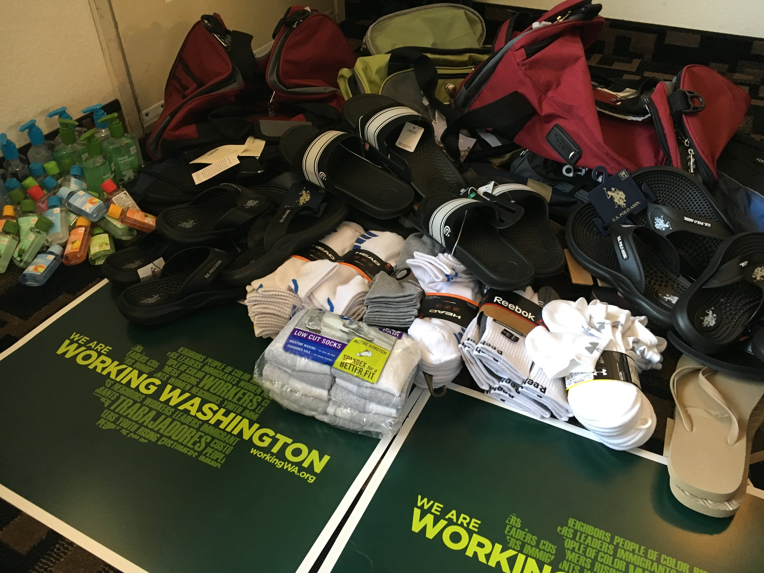 Just a fraction of the supplies Working Washington members bought for the camp.