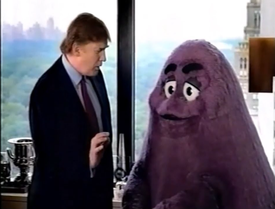 "Tag line from  this 2002 TV ad : ""Together Grimace, we could own this town""  ."