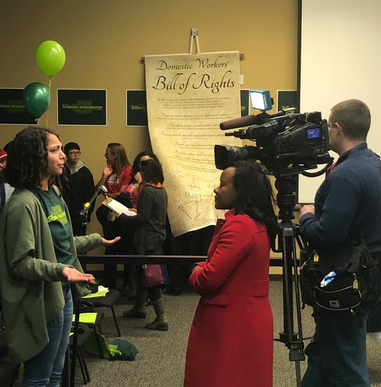 We shared our stories. - We publicly kicked off our campaign in December with a major event where elected officials heard from nannies and housecleaners and signed on in support of a citywide Domestic Workers Bill of Rights.