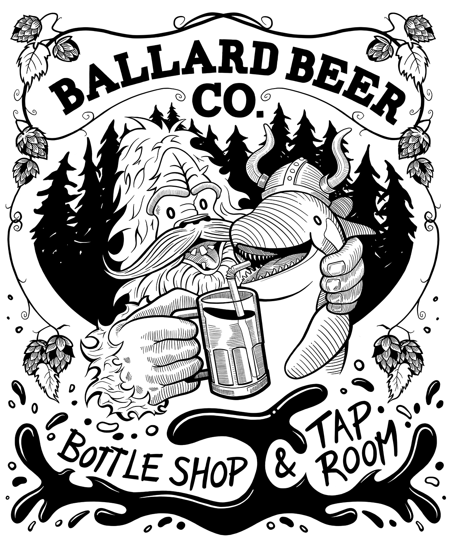 Ballard Beer Company Tee Shirt Illustration