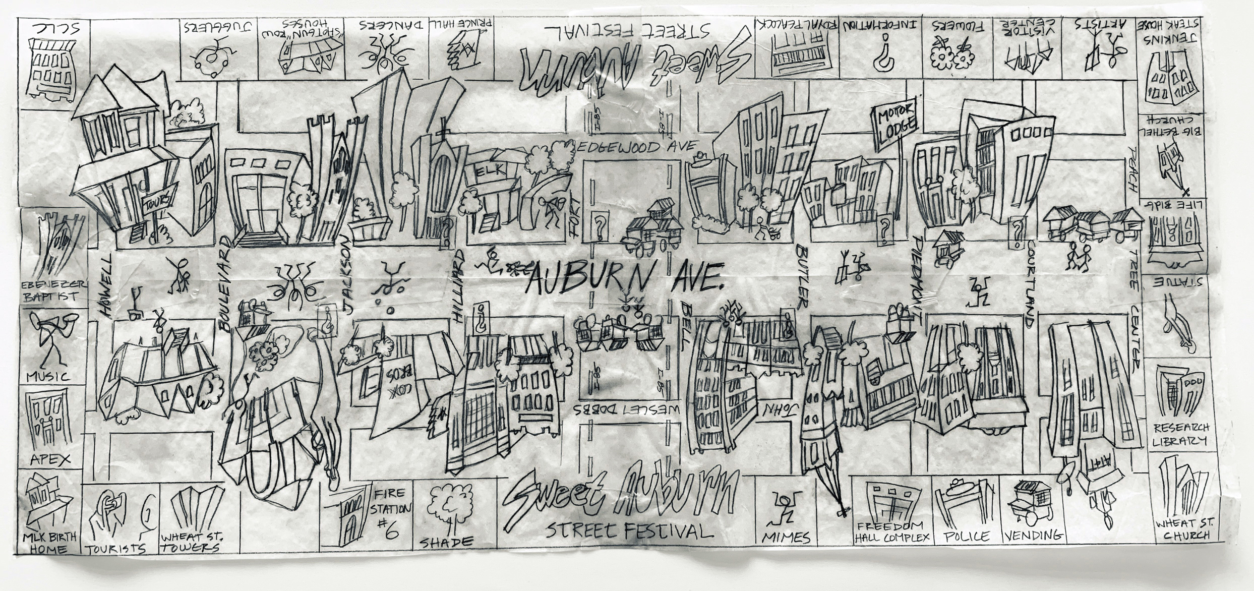 Concept sketch for the Sweet Auburn Festival Map, Circa 1995
