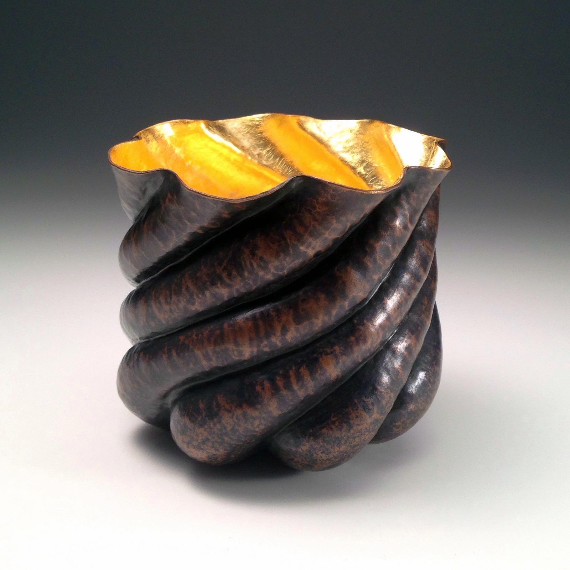 "Raised Copper Vessel, ""Copper Clouds"" Mini Vase"
