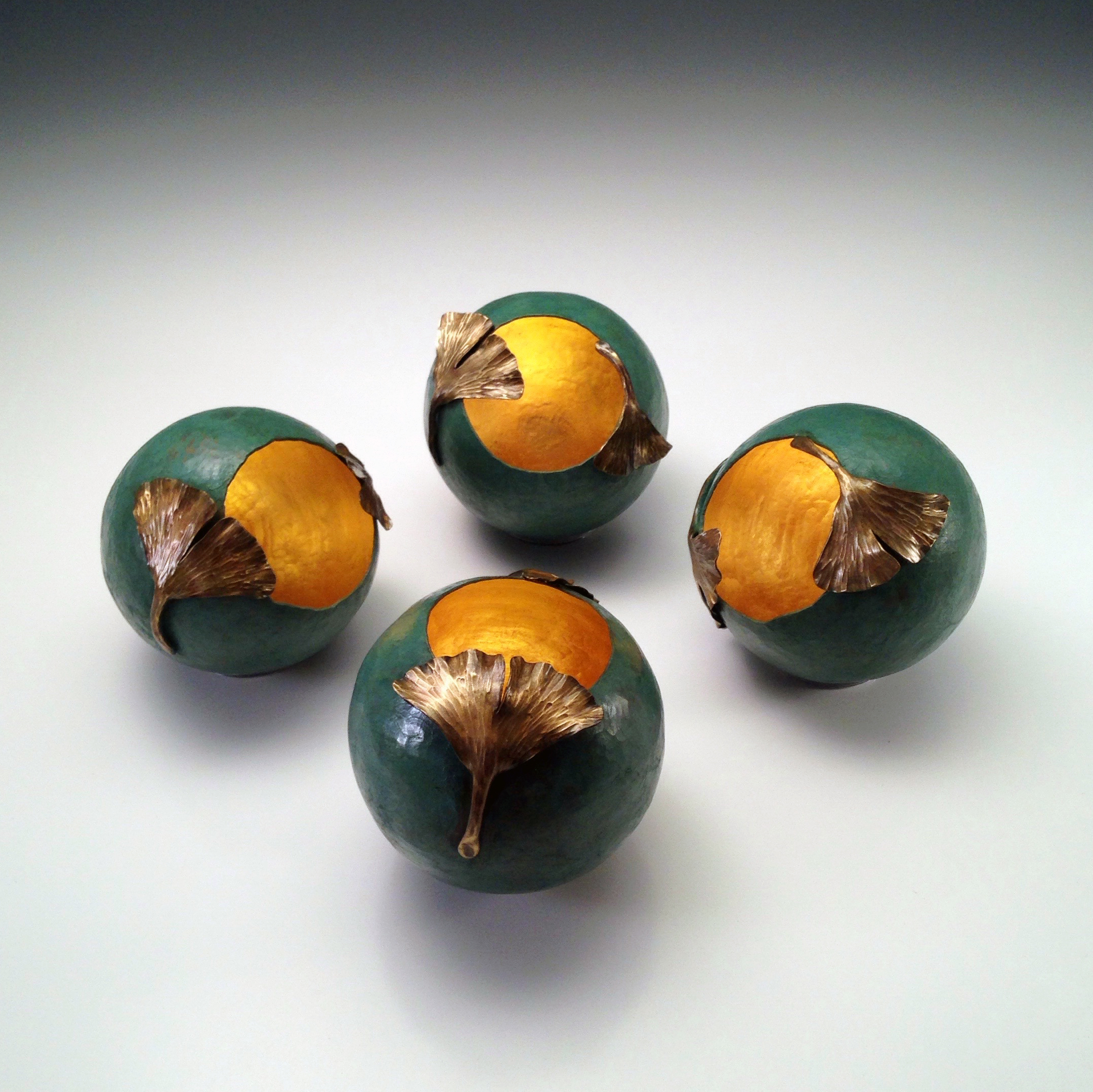 """Raised Copper Vessels, """"Ginkgo Orbs I - IV with Patina"""""""