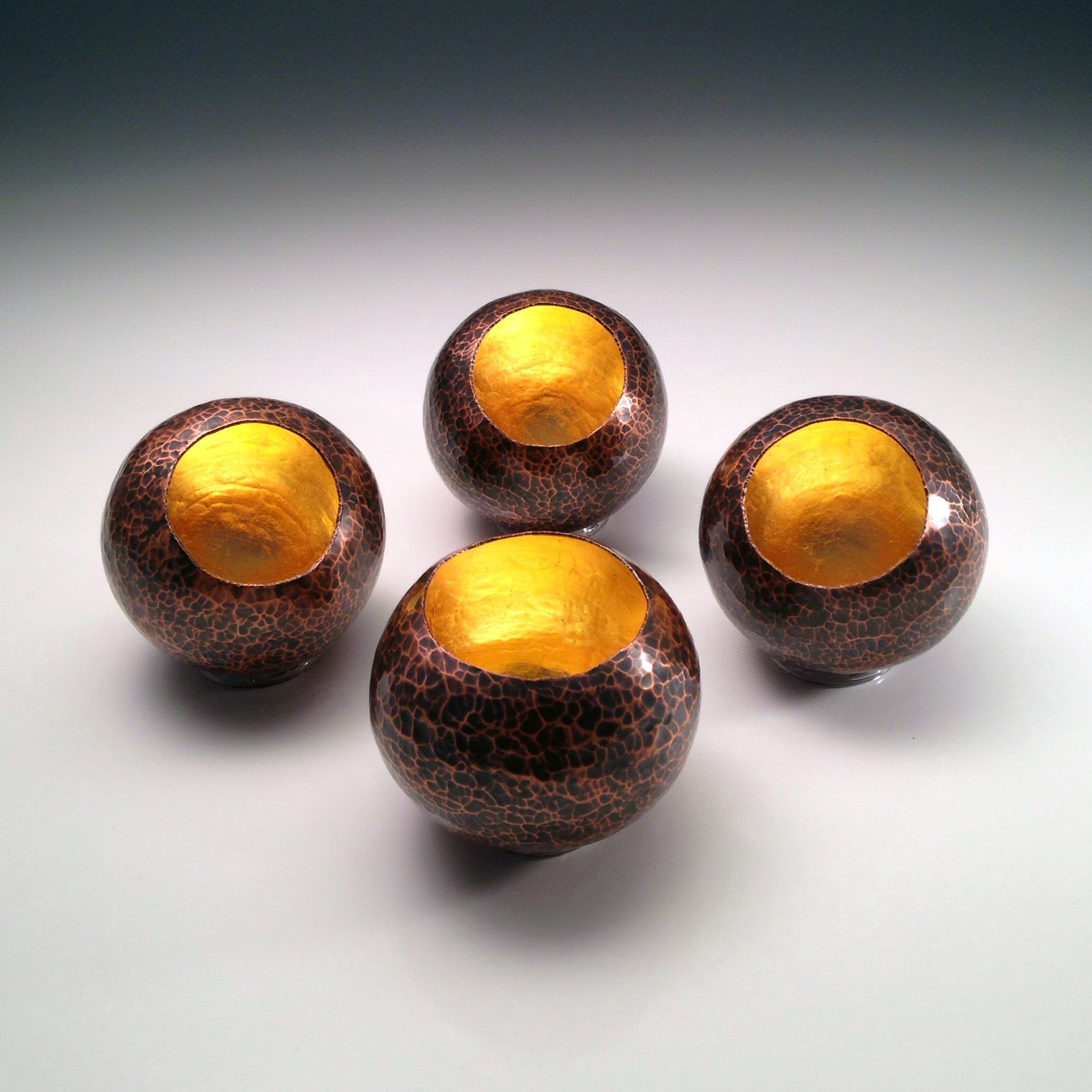 "Raised Copper Vessels, ""Copper Orbs w/ 23K Gold Leaf"""