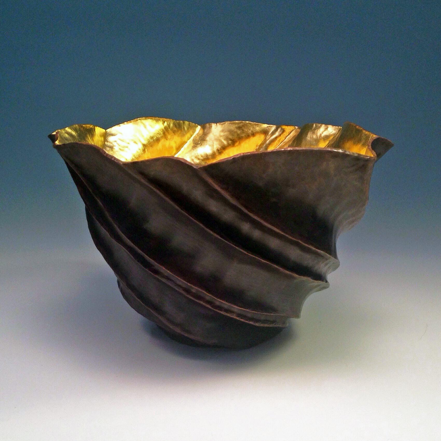 "Raised Copper Vessel, ""TanKin Bowl w/ 23K Gold"""