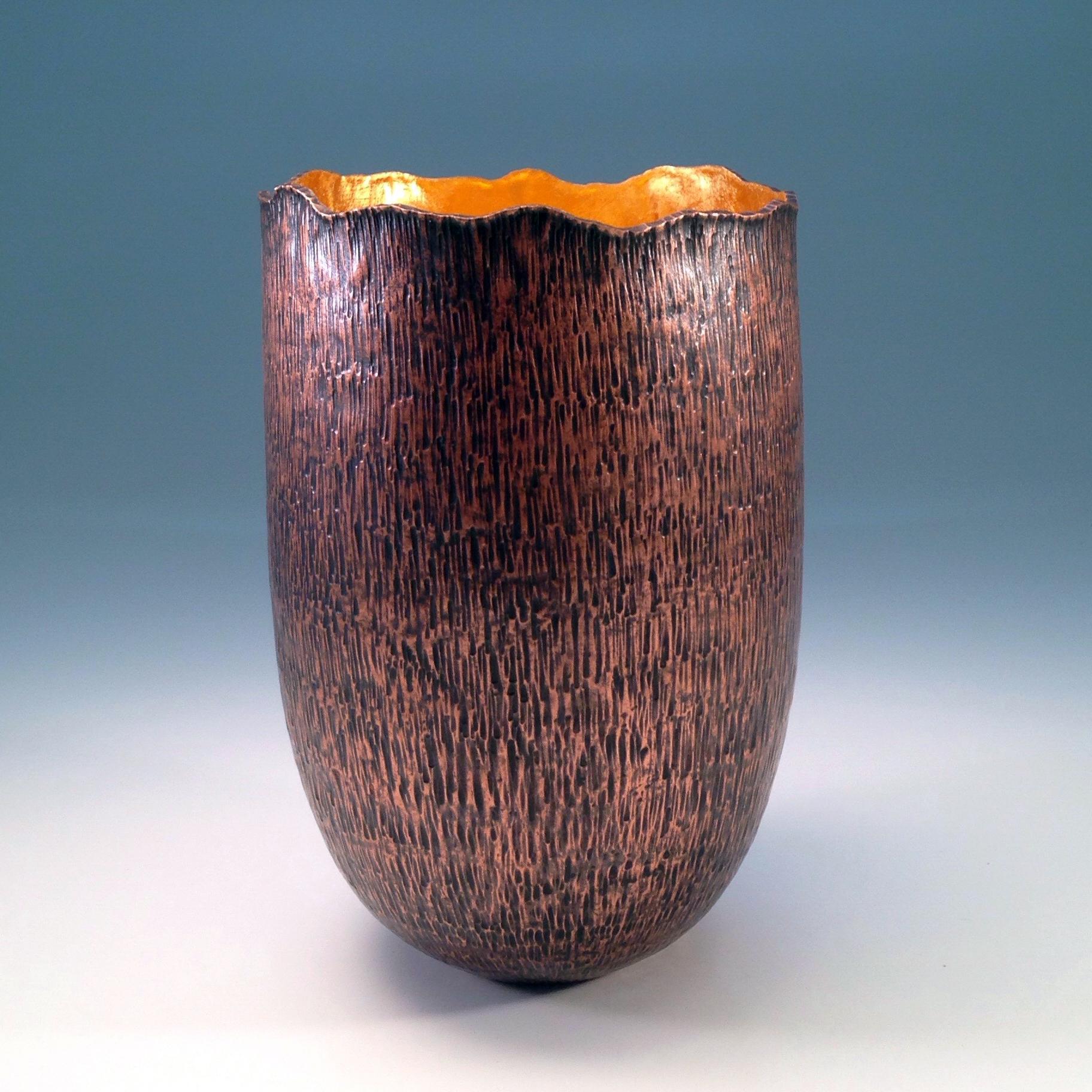 """Raised Copper Vessel, """"Tree Stump Vase"""""""