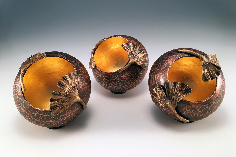 "Raised Copper Vessels, ""Ginkgo Orbs"""
