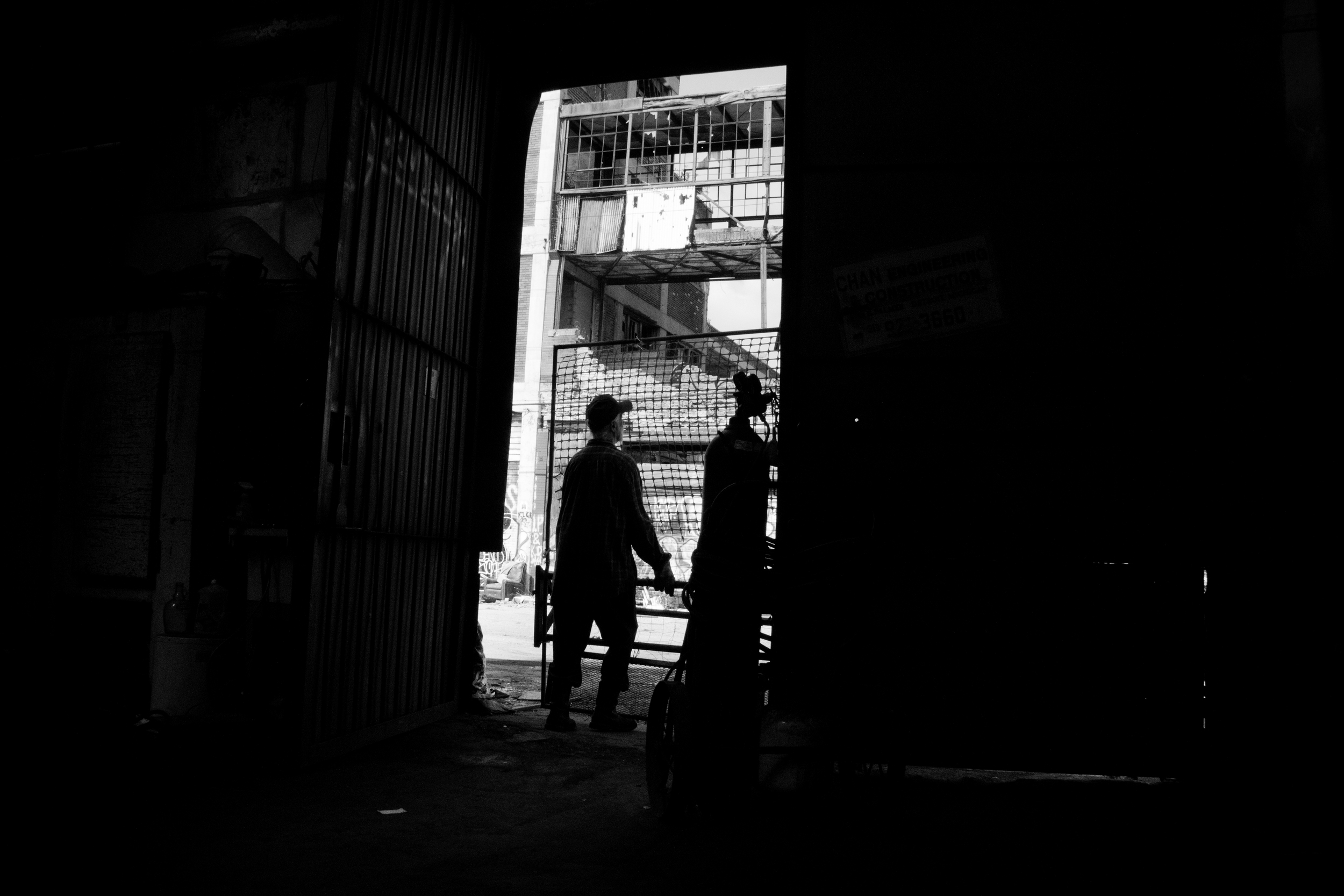 A local scrapper heads out from his warehouse in search of metal.