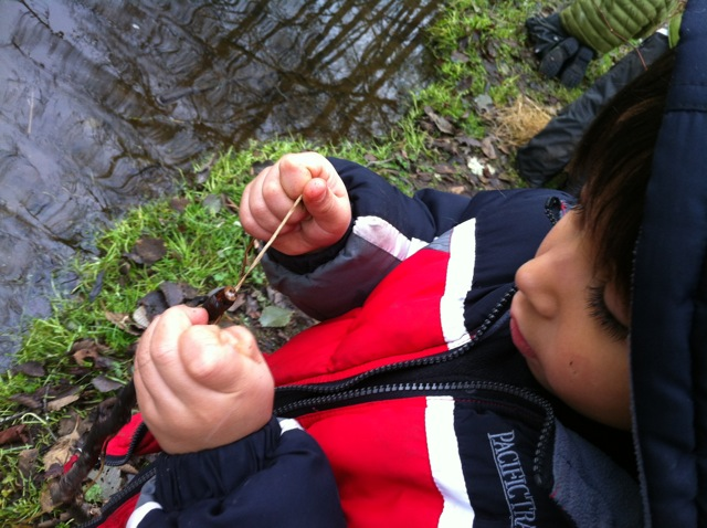 tying on a fishing lure