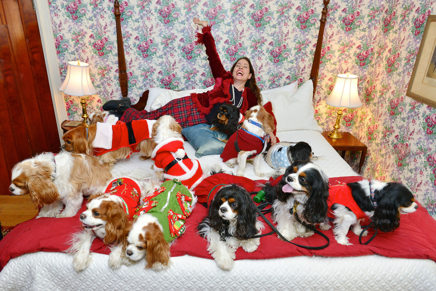 melissa in bed with dogs leashes.jpg