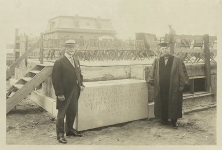 Mr. Wilbur (left) with University of Vermont President Guy W. Bailey (right) at the cornerstone of UVM's Ira Allen Chapel in 1925.