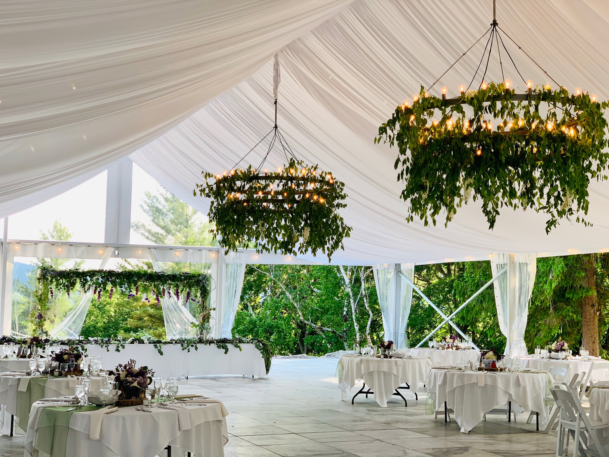 The Marble Pavilion Tent - Wedding Receptions and Celebrations for 240+ guests to dine and dance in a unique tent with a floor of local Vermont white marble.