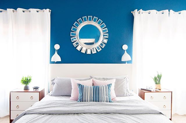 I could be blue for dayssss. Still swooning over Julie Balcom's Alta Loma, California bedroom I photographed more than a year ago. #FlashbackFriday