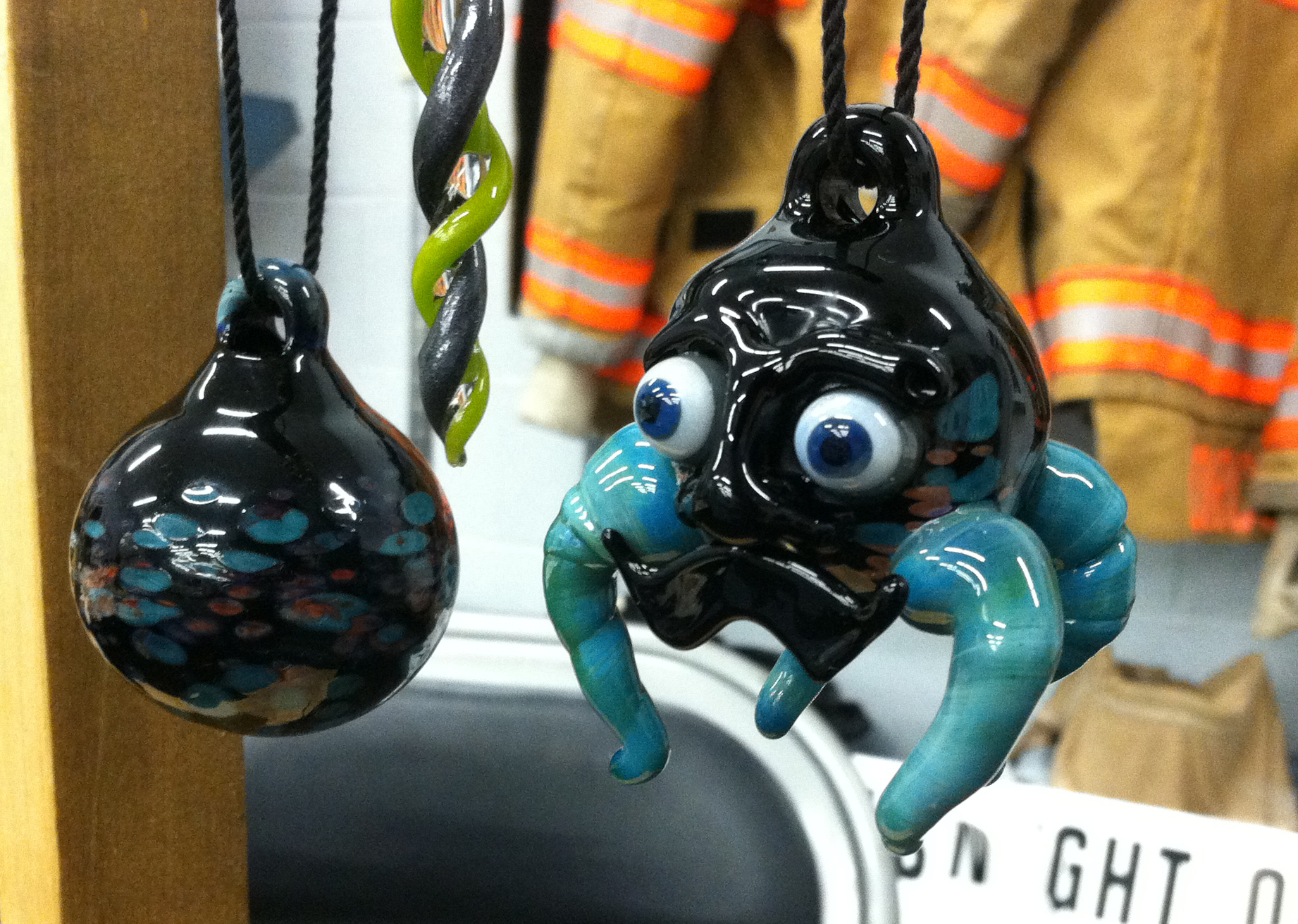 Mustache alien ornament made in 2012.  Sold.