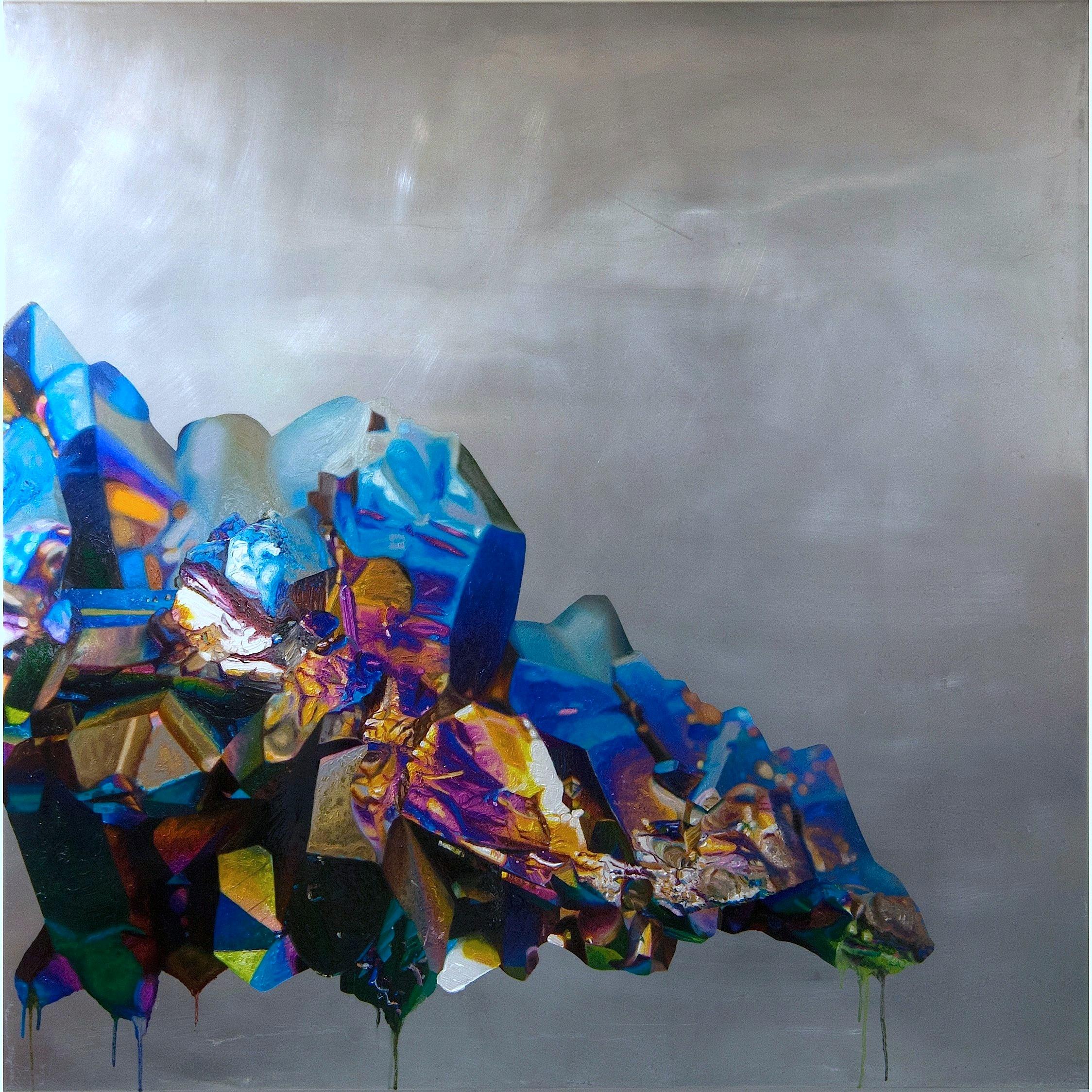 """Phoenix Rising , oil on aluminum, 46x46"""", 2013"""