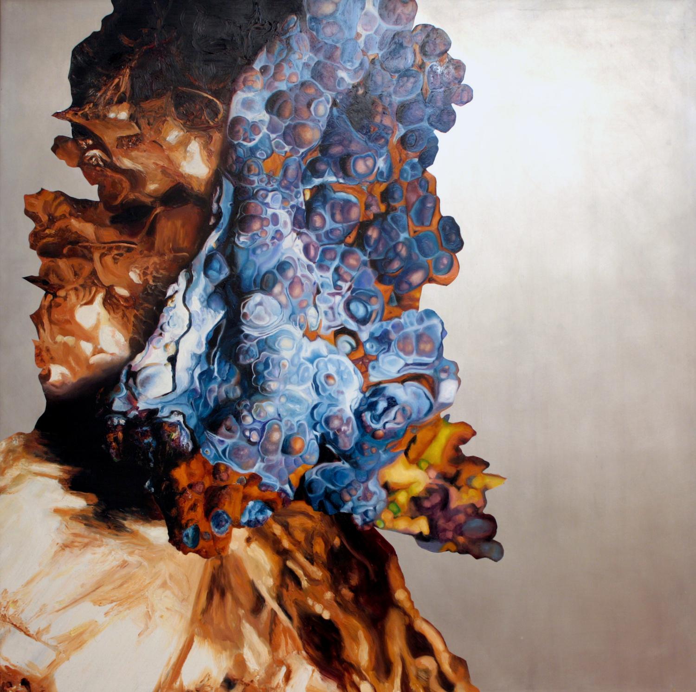"""Mutation , oil on aluminum, 46x46"""", 2008"""