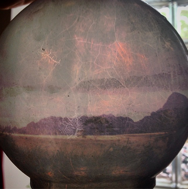 Polaroid transferred onto antique glass - landscape