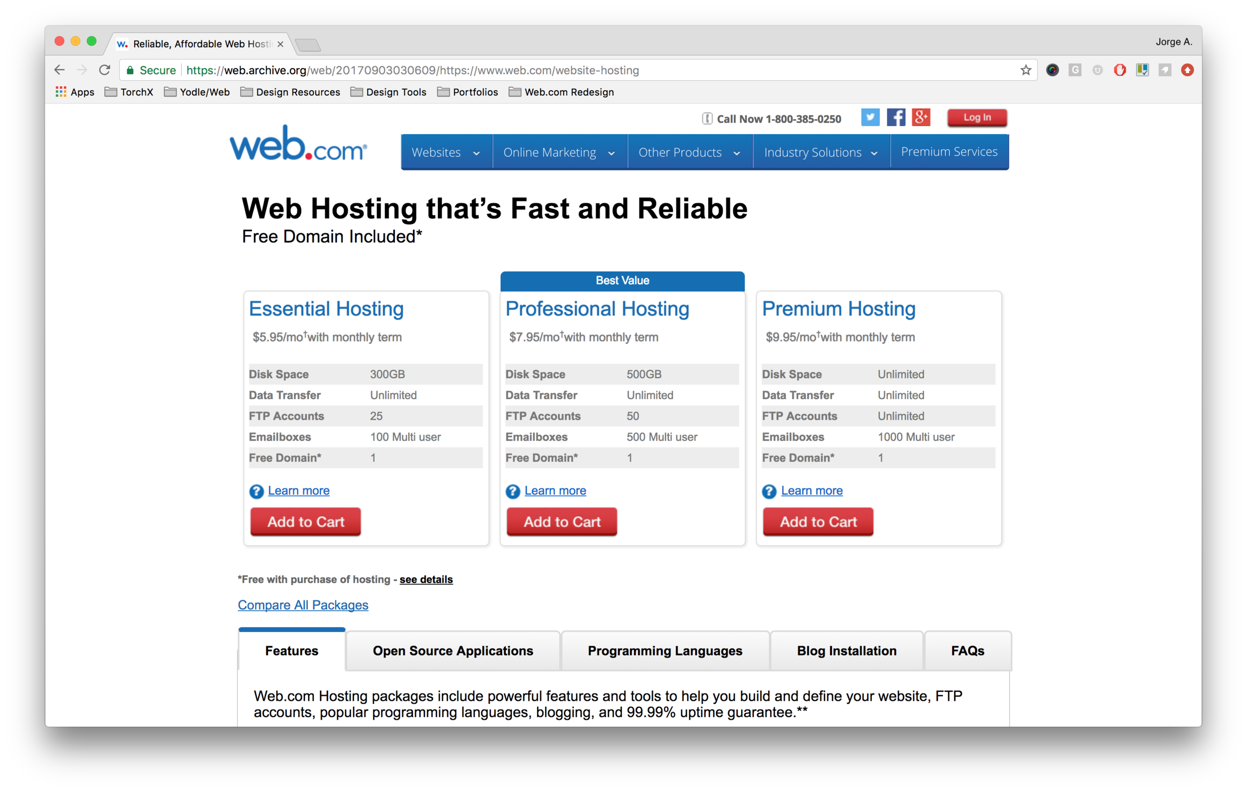 Old Web.com Hosting Product Page