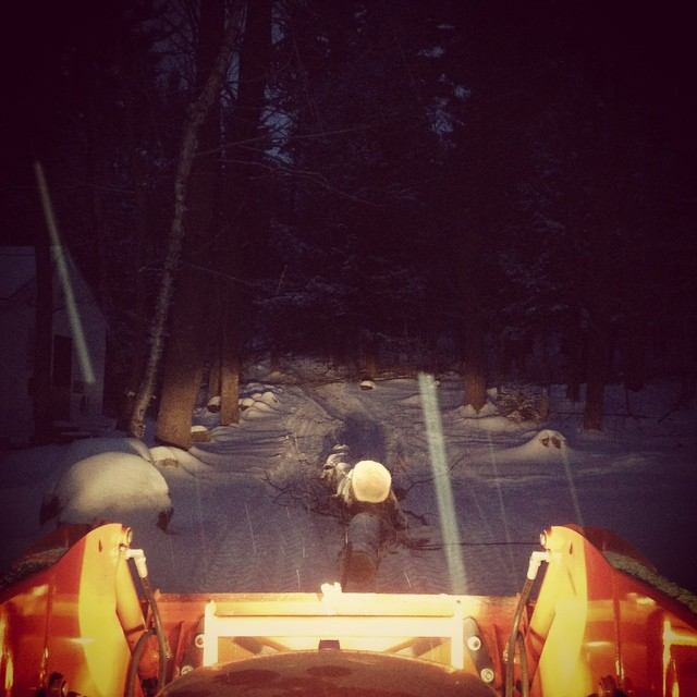 Don't try this at home, kids: Night Logging, in a snowstorm.