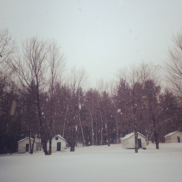Cragged Mountain Farm's uninsulated summer camp cabins in the winter.