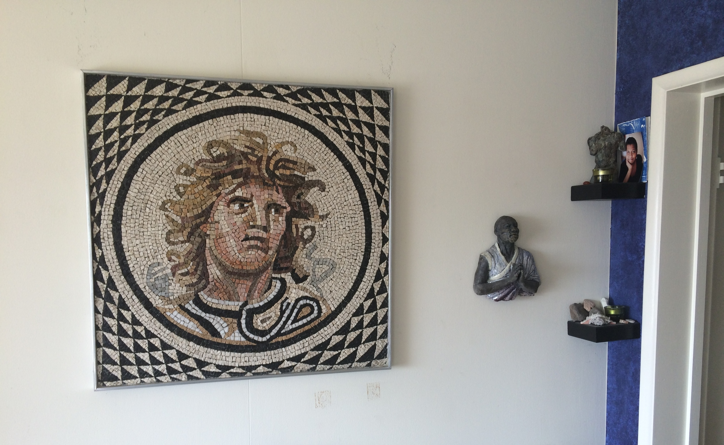 "Hellenistic Medusa Reproduction   2010, stone, 32""X32"", reproductionof Roman mosaic circa 115-150 AD  $3500"