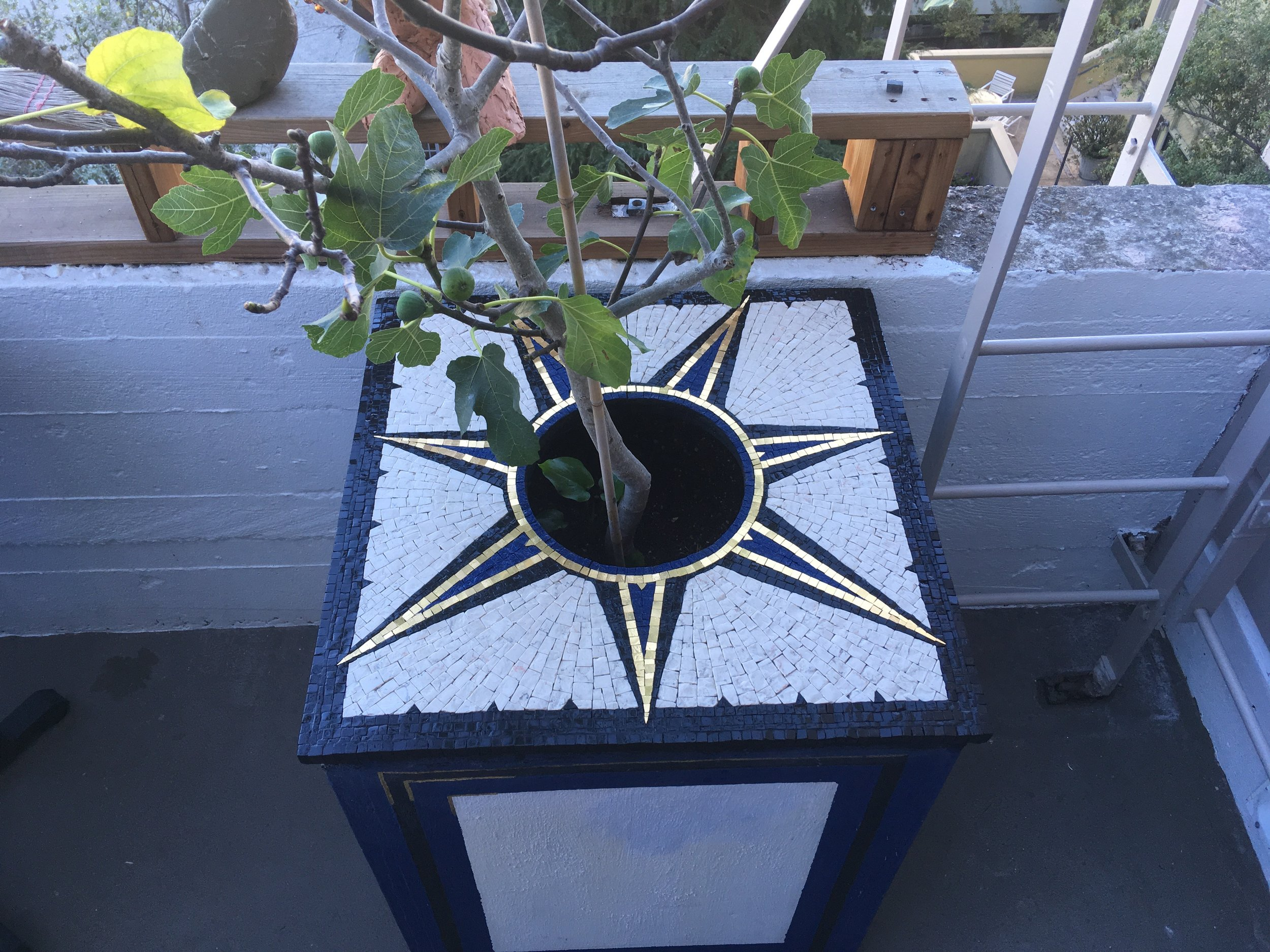 """7-Pointed Star Planter Top, 20127, Stone and Gold, 26"""" x 26"""""""