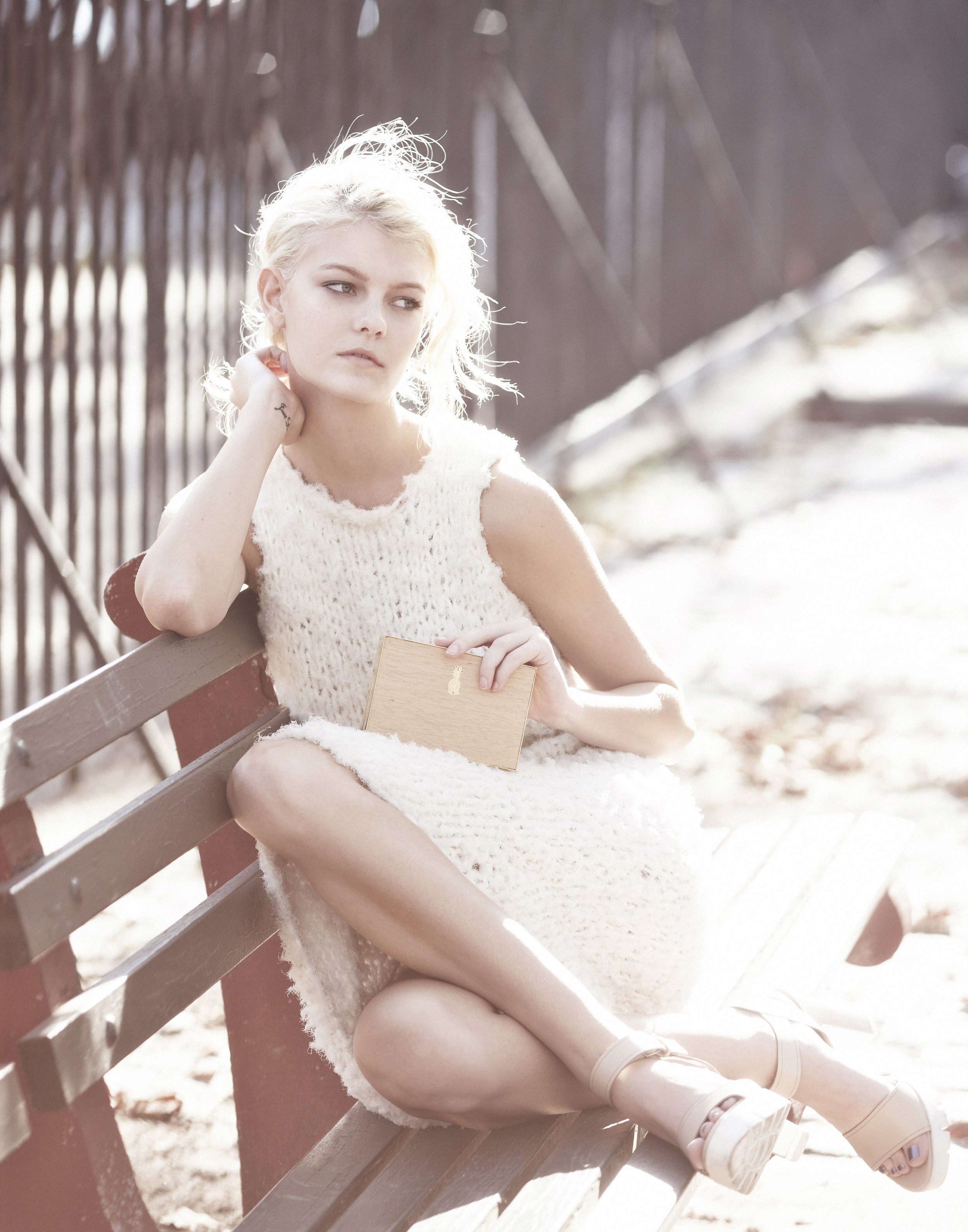 Sarah Fraser     (Wilhelmina)  wears a dress and clutch by Osklen and sandals by Zara.