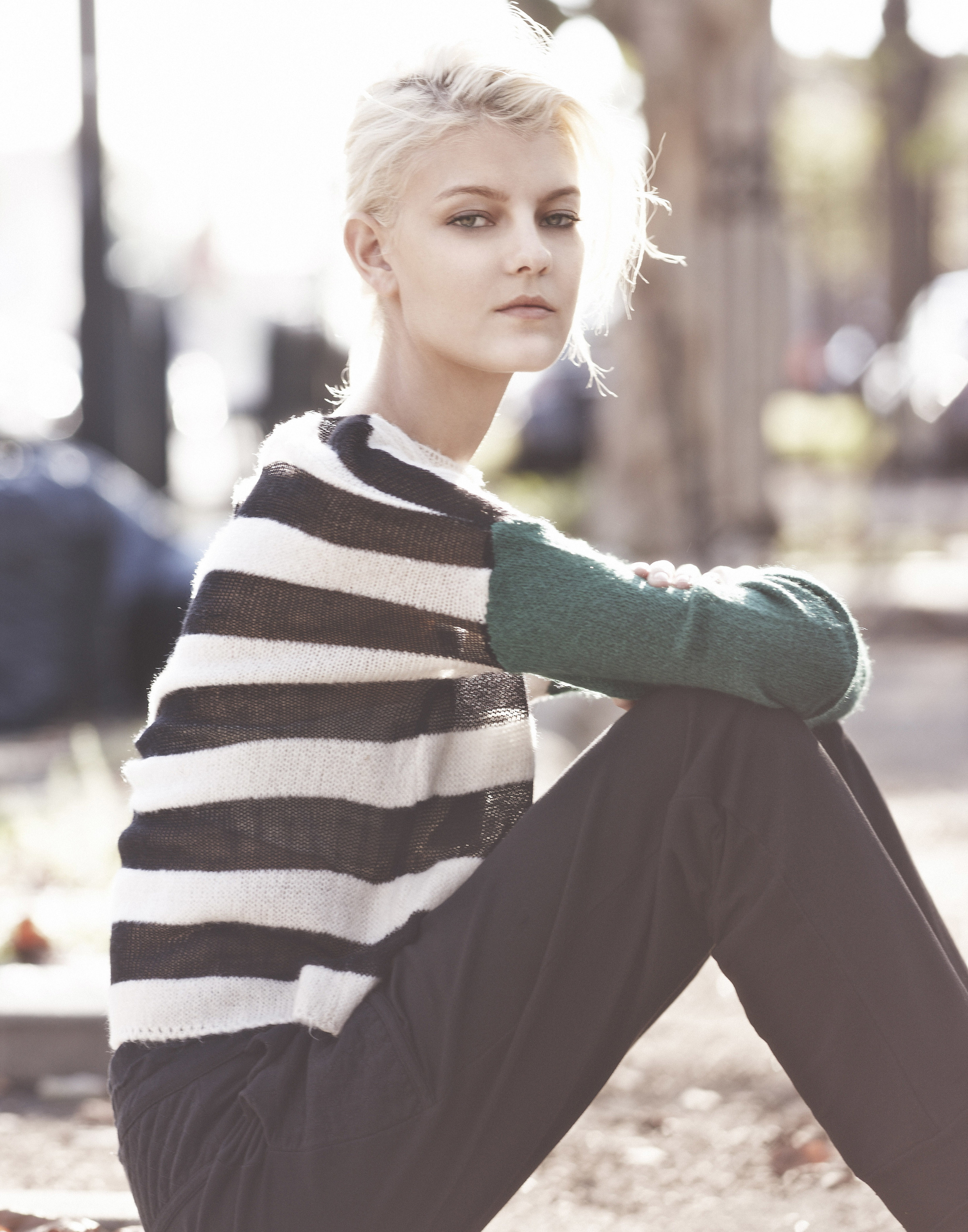 Sarah Fraser  (Wilhelmina) wears a sweater and pant by Osklen.