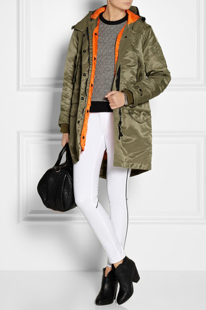 Coat, knit, jeans and boots by Rag & Bone, bag by Alexander Wang and bracelets by Eddie Borgo.