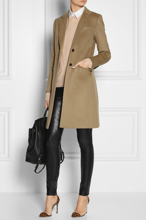 Coat by Joseph, shirt by Marni, knit by Equipment, J Brand jeans, Gianvito Rossi pumps, Alexander Wang backpack, Arme De L'Amour rings and Maria Black ring.