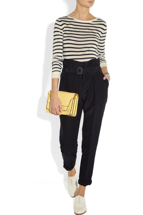 Knit by By Malene Birger, pants by Burberry, clutch by Marni, brogues by Church's and jewelry by Eddie Borgo.