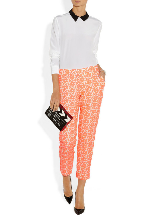 Shirt by Equipment, pants by J. Crew, clutch by Charlotte Olympia and pumps by Christian Louboutin.