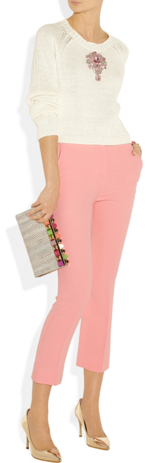 Knit by Christopher Kane, pants by Marni, clutch by Jimmy Choo and pumps by Sophia Webster.
