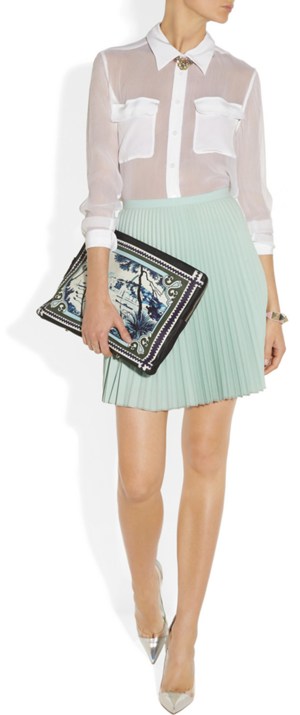 Shirt by Equipment, clutch by Mary Katranzou, pumps by Gianvito Rossi and bracelet by Valentino.