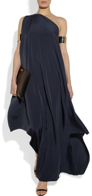 Gown and cuffs by Maison Martin Margiela, clutch by Marni and sandals by Givenchy.