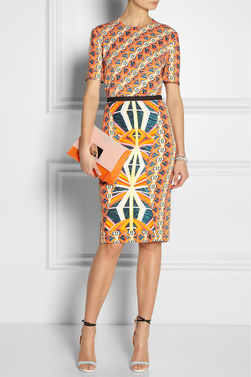 Shirt and skirt by Peter Pilotto, clutch by Proenza Schouler and sandals by Sophia Webster.