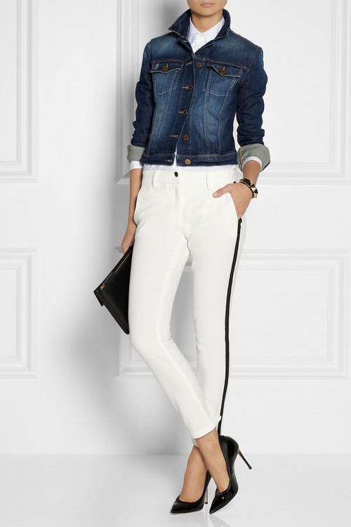 Denim jacket by Current Elliot, shirt by Jil Sander, pants by Karl Lagerfeld, pumps by Gianvito Rossi, clutch by Marni and bracelet by Valentino.