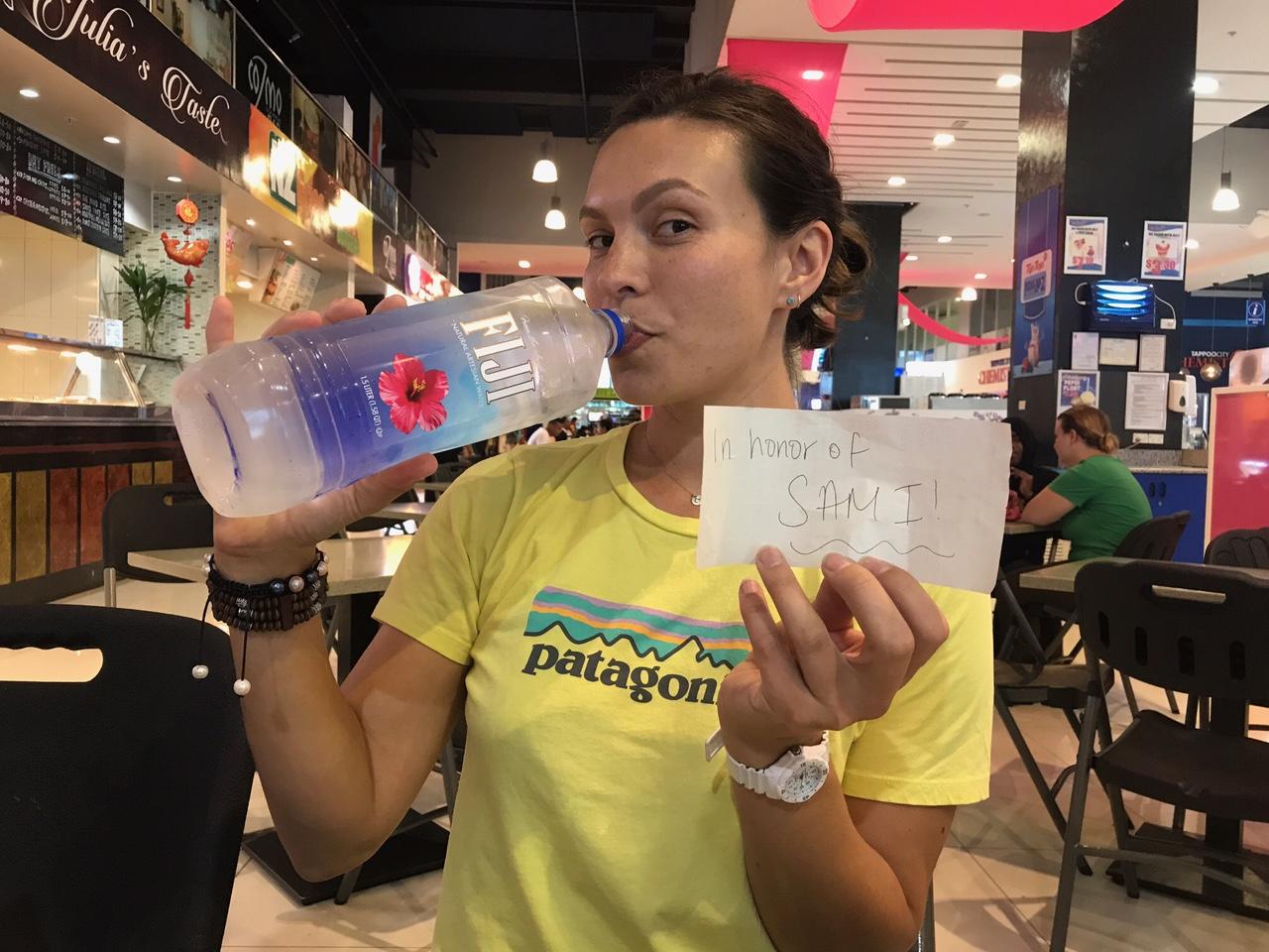 Drinking Fiji water IN FIJI in honor of my beautiful sister.