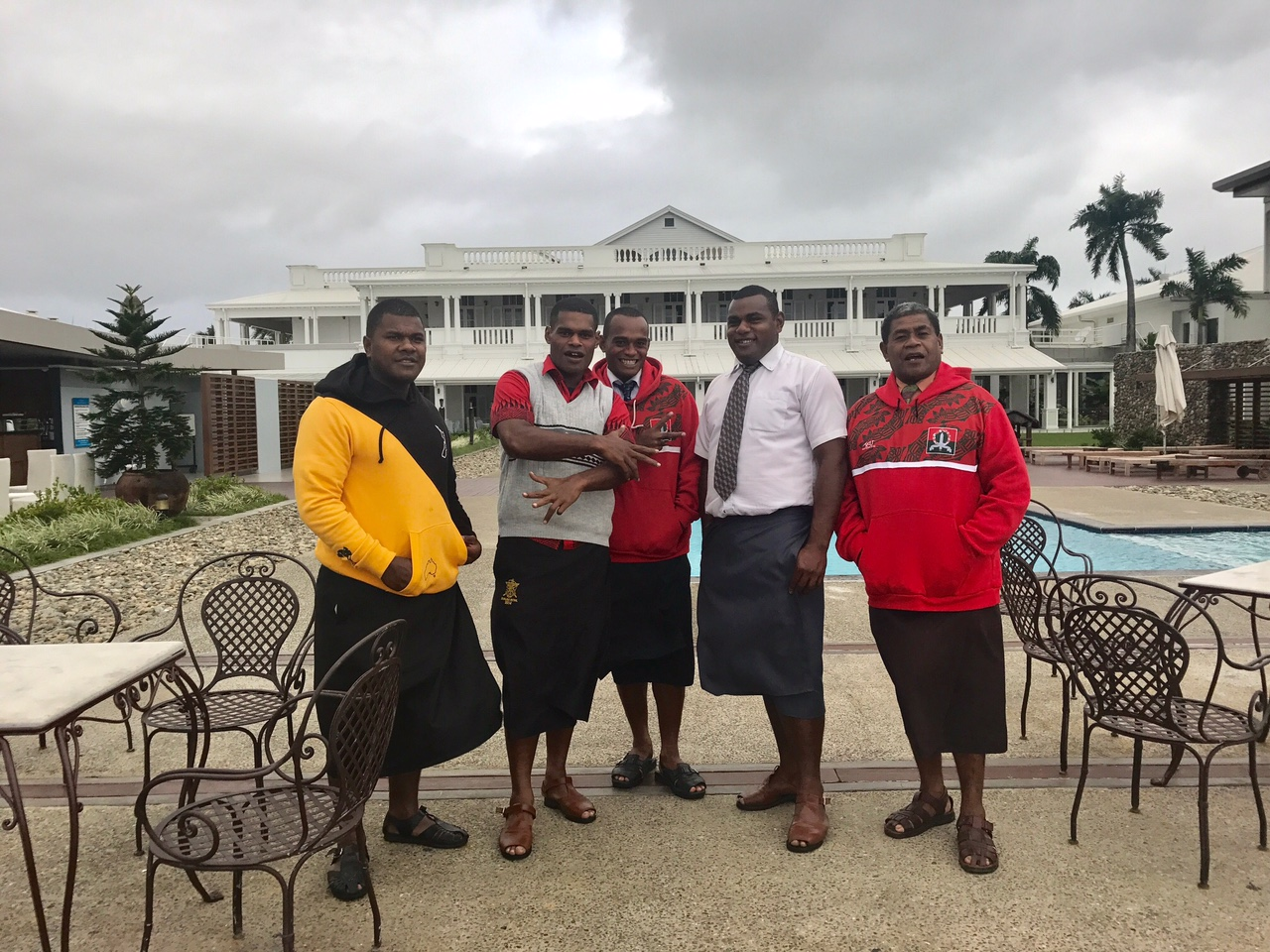 These Fijian military men were telling me how they wanted to join Uncle Sam. The skirts they are wearing are very typical in Fiji and are called sulus.