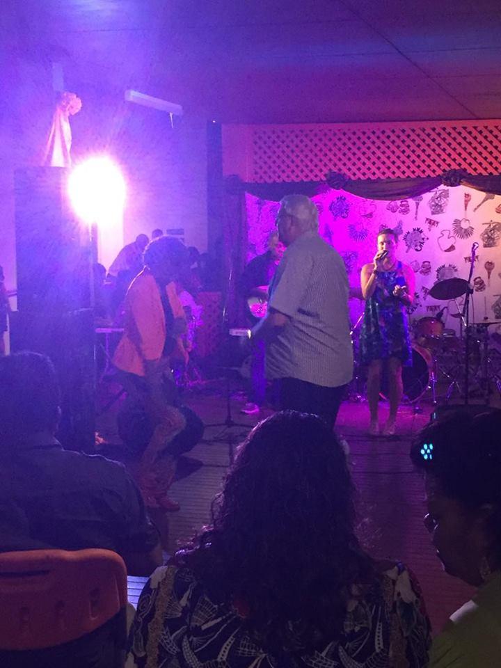 Singing in Fiji! People were dancing!! :)