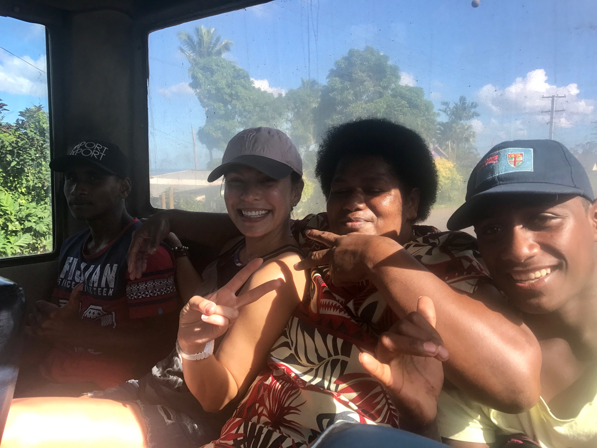 Making friends on the local bus to Colo-I-Suva Eco Park!