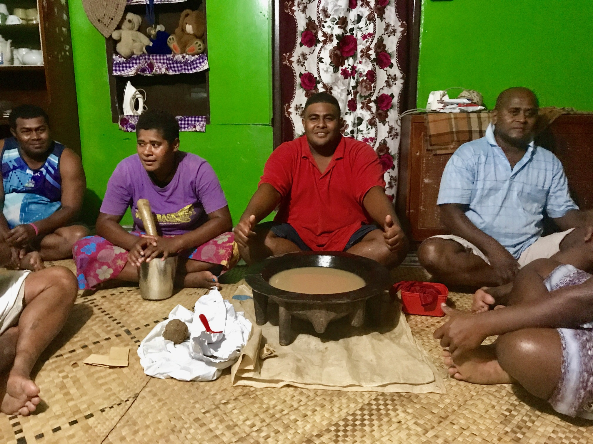 Kava ceremony in Votua Lalai with members of the village.