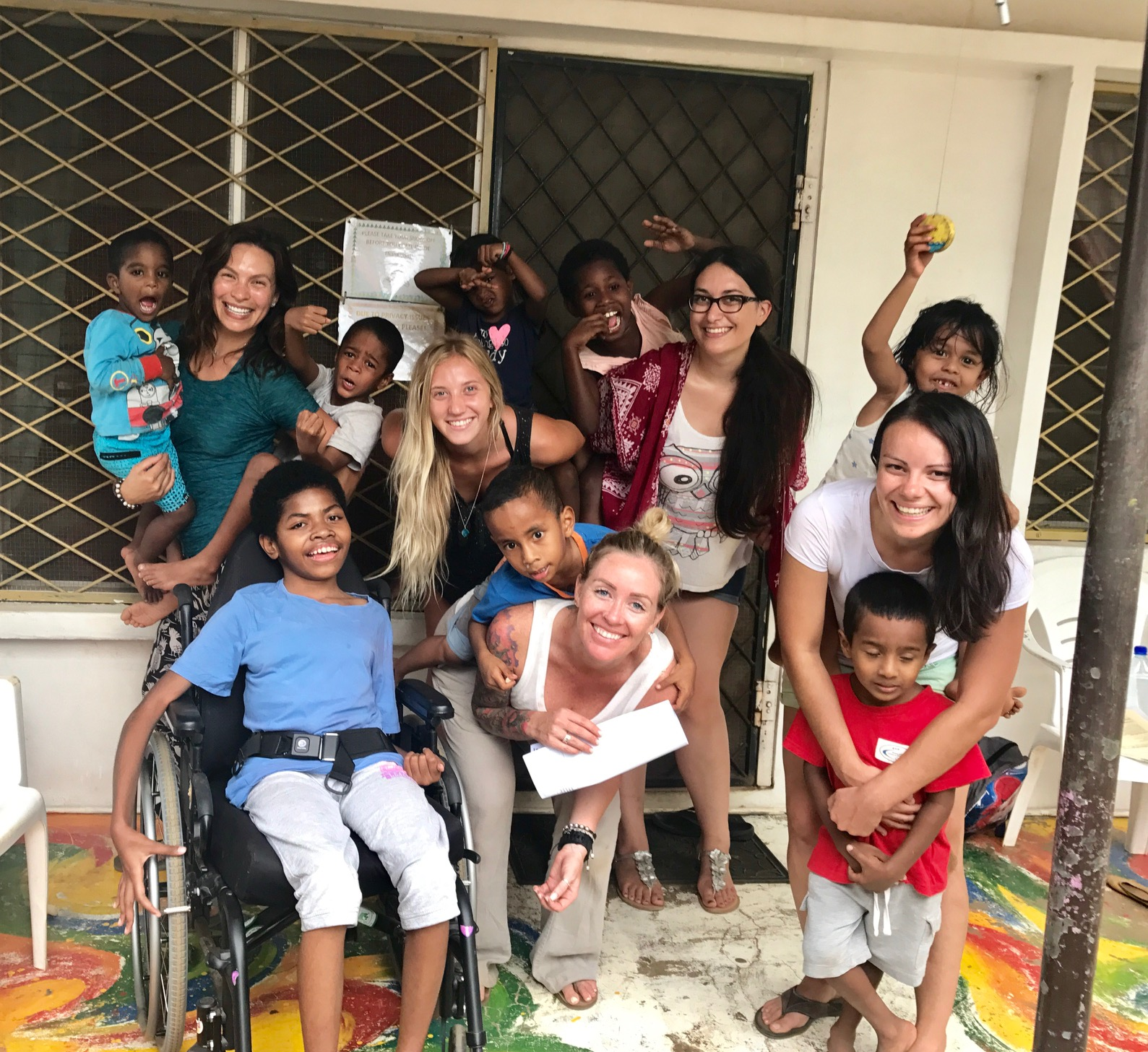 This photo was taken at Treasure Home. All of these children are considered orphans and are living here full time. They were so sweet and loved playing with us.