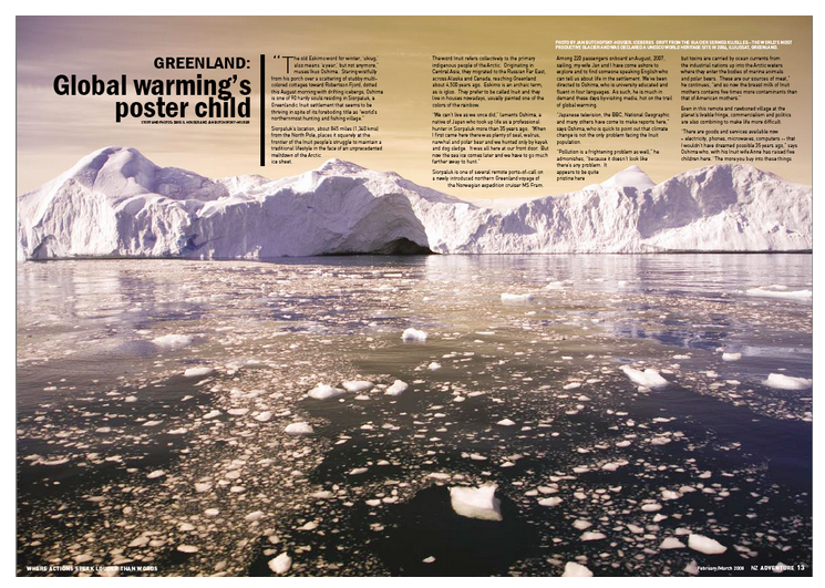Greenland - ADVENTURE magazine, New Zealand  Greenland, Global Warming's Poster Child.    READ ARTICLE
