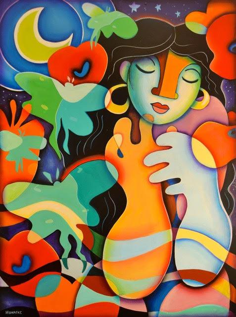 Luna, acrylic painting by paul honatke