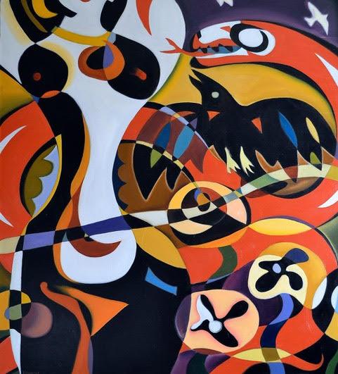 TOTEMS, acrylic painting by Paul honatke