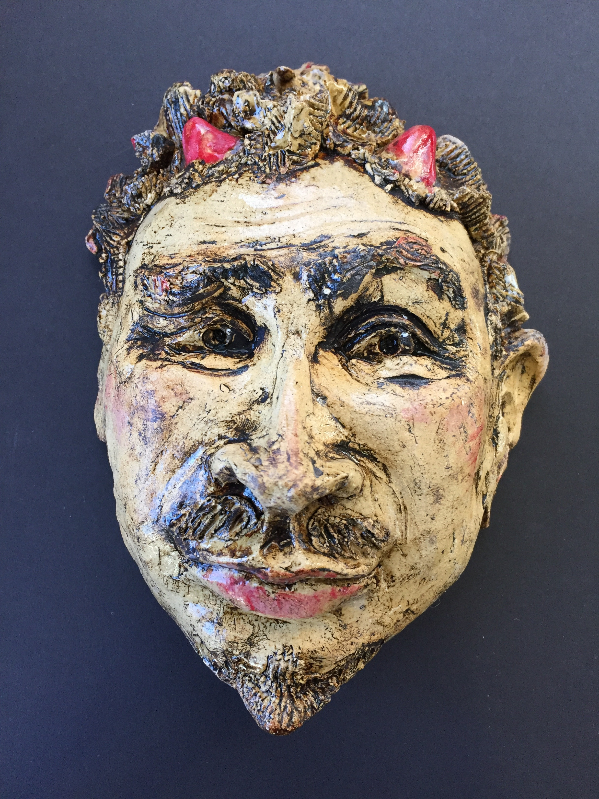 """hester prynne"" Ceramic mask , By claudia Jeffers"