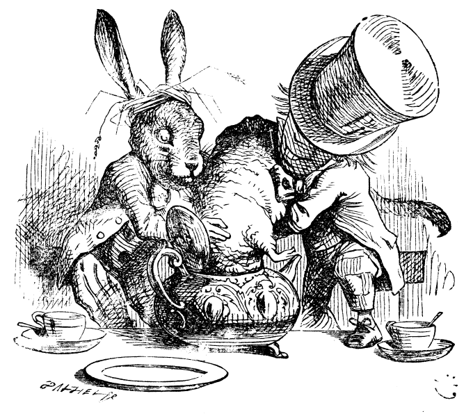 The Mad Hatter and the March Hare, dunk the Dormouse