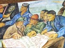 Mural of Mexican American struggle in Seattle. Pablo Higgins, 1945 (can be found in Kane Hall)
