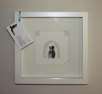 The Happy couple - Pebble art piece - perfect wedding gift